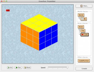 Screenshot Greenfoot Rubik's Cube Projekt